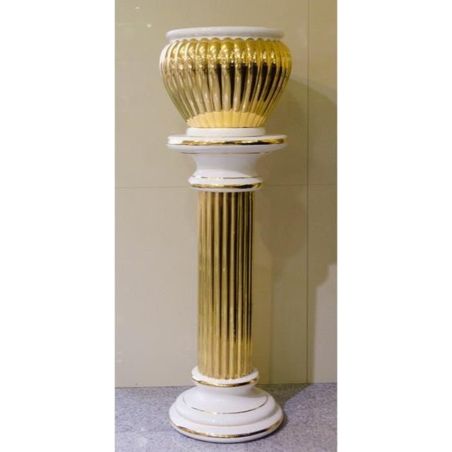 Pottery Columns - Gold White / 陶器 コラムセット ゴールド&ホワイト | Angela Rigon / イタリア|HGE0022RGN