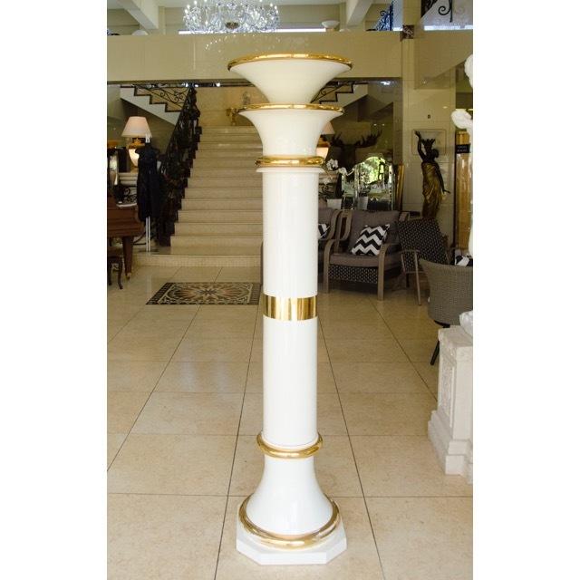 Pottery Tall Column - White Gold / プランター  トールコラム ホワイト ゴールド|Angela Rigon / イタリア|HGE0027RGN