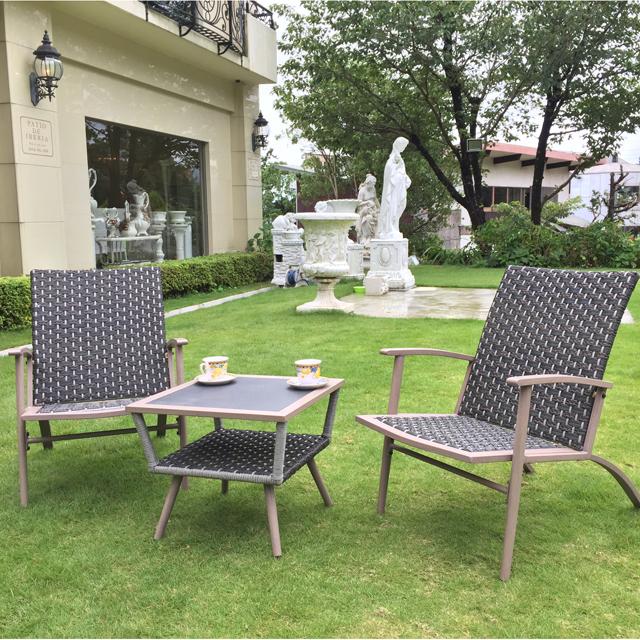Garden Furniture / 雨に強いガーデンテーブルチェア3点セット クッション付 - スクエア|IB Selection|HGE0009
