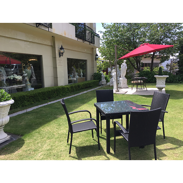 Garden Furniture / 雨に強いガーデンテーブルチェア5点セット - スクエア/ガラストップ|IB Selection|HGE0015