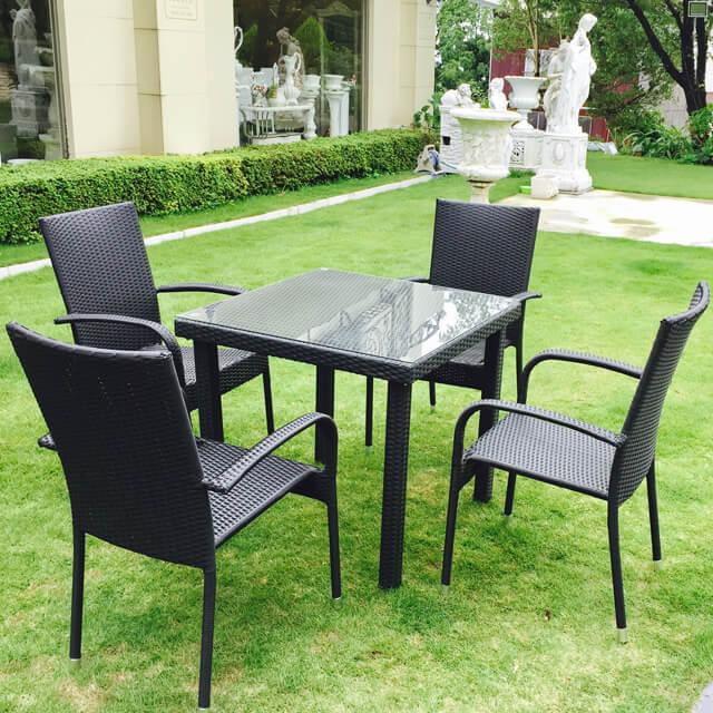 Garden Furniture 雨に強いガーデンテーブルチェア5点セット - スクエア/ガラストップ