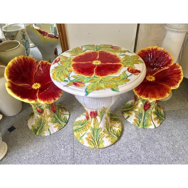 Garden Furniture / ガーデンテーブルチェア3点セット(陶器 / ハンドペイント) - イタリア|IB Selection|HGE0020
