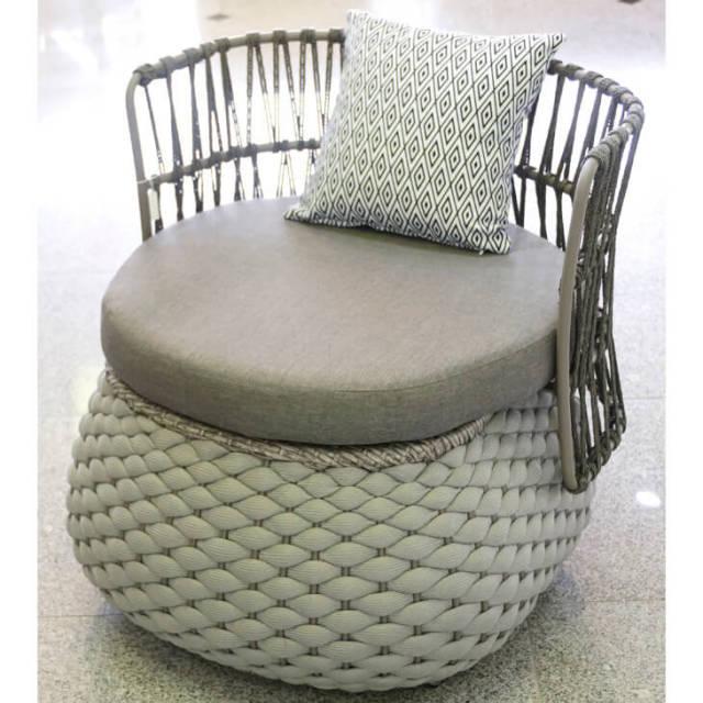 Rope Garden Chair / ガーデンチェア 丸型ゆったりサイズ グレー 低反発クッション付|IB Selection|HGE0021