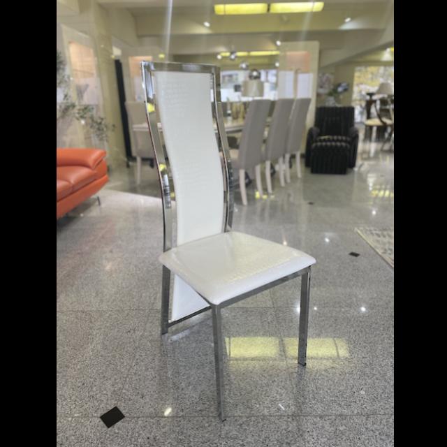 High Back Dining Chair / ハイバックダイニングチェアー - クロコダイル調/ホワイト|IB Selection|CAI0013