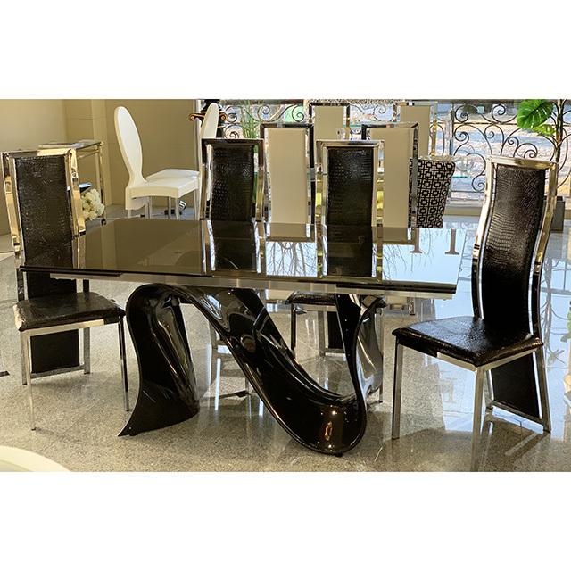 dining Table 5Set - 伸張式ダイニングテーブル5点セット|ブラック×シルバーフレーム ブラック|DNG0099TNC