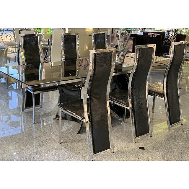 dining Table 7Set - 伸張式ダイニングテーブル7点セット|ブラック×シルバーフレーム ブラック|DNG0100TNC