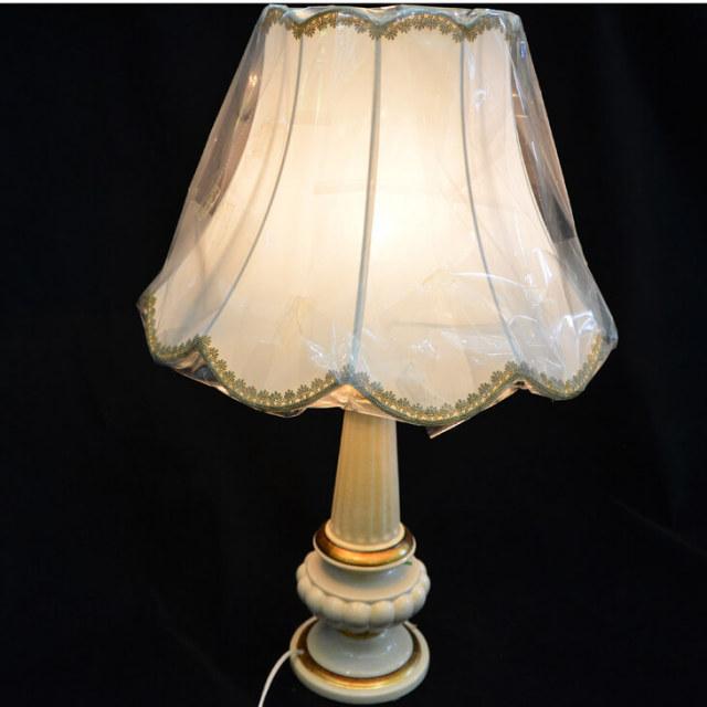 Pottery Lamp / 陶器ランプ - 白 ゴールド|LMP0007