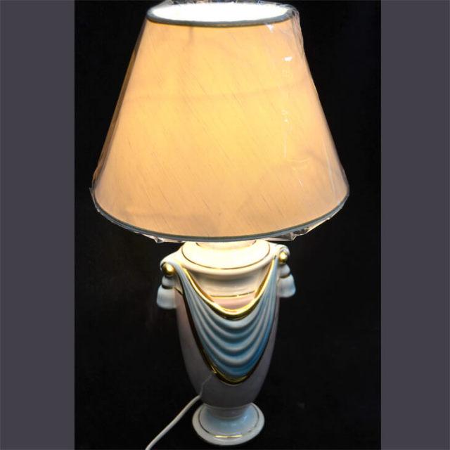 Pottery Lamp / 陶器ランプ - ピンク水色タッセル白シェード | Angela Rigon / イタリア|LMP0012RGN