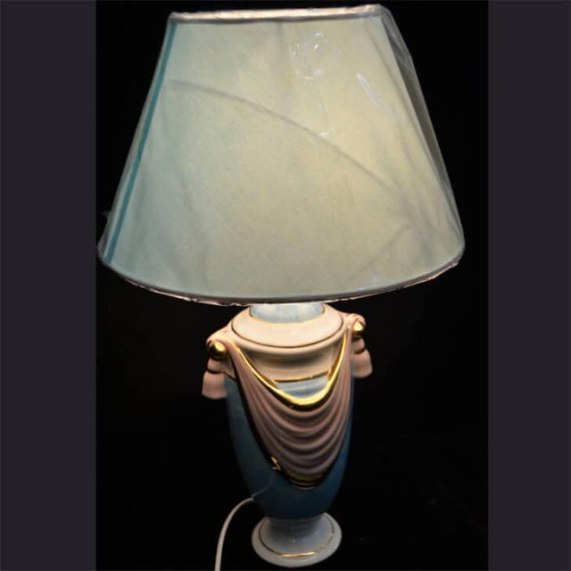 Pottery Lamp / 陶器ランプ - ピンク水色タッセル水色シェード | Angela Rigon / イタリア|LMP0013RGN