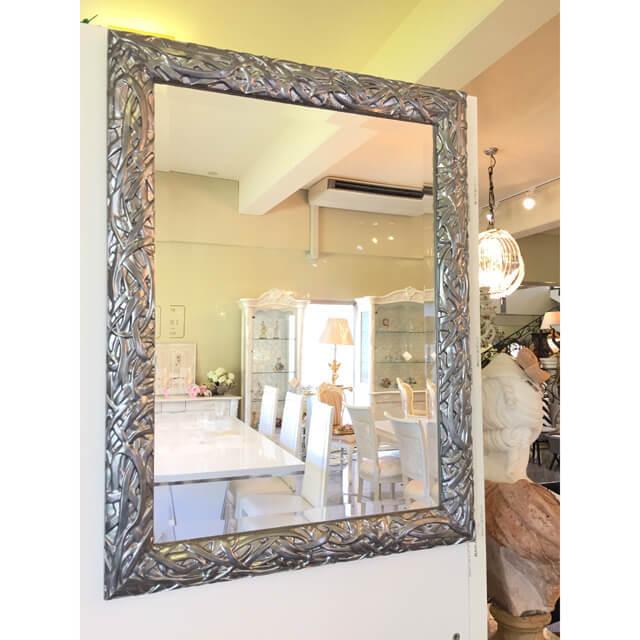 Mirror / ミラー - ボタニカルフレーム/グレー/スクエア - イタリア|IB Selection|MRR0003