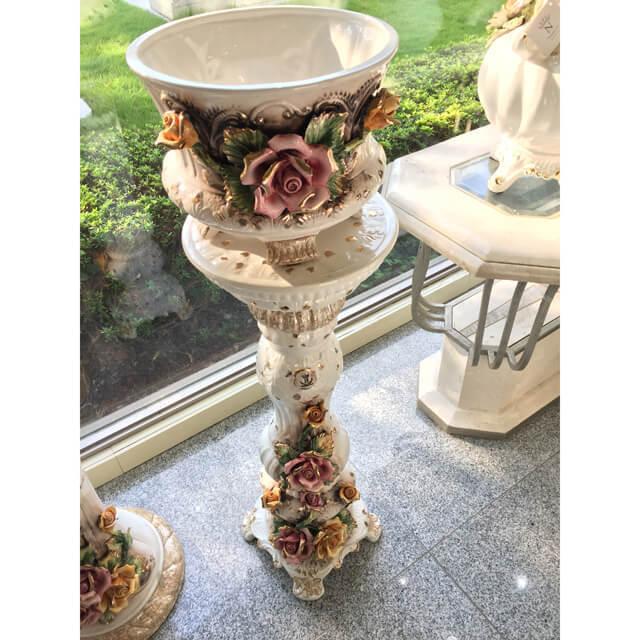 Pottery / Object / ハンドメイド陶器プランター&コラムセット - 花:磁気 |イタリア|IB Selection|OBJ0059