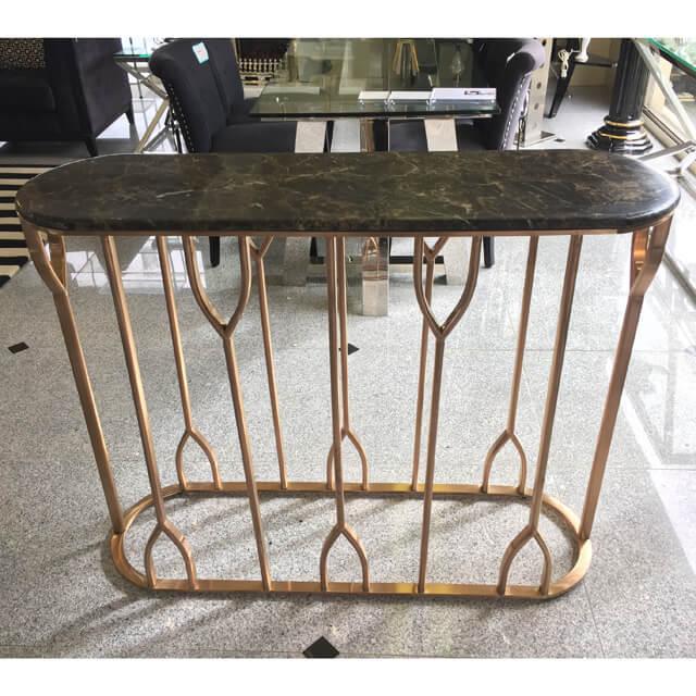 Table / 大理石天板テーブル|コンソール - 脚:ステンレス/コーヒーブラック - モダン|IB Selection|TBL0033