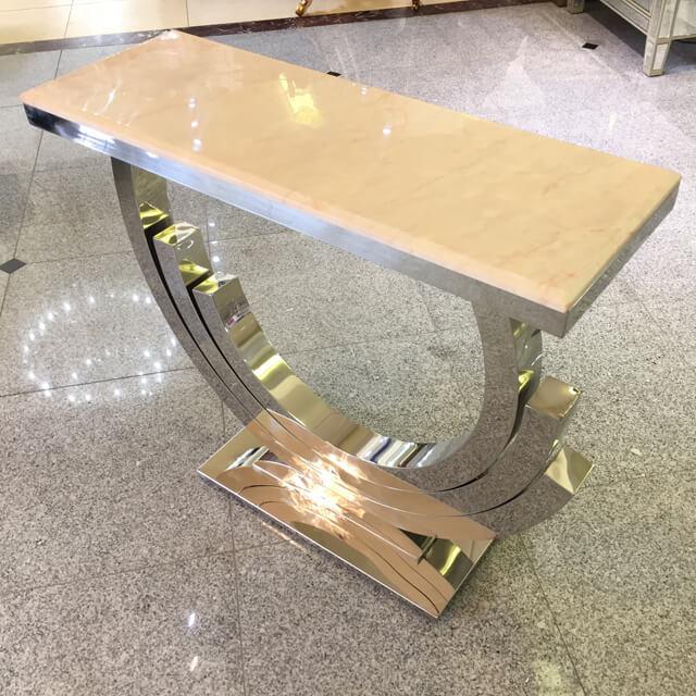 Table / 大理石天板テーブル|コンソール - 脚:ステンレス/アイボリー - モダン|IB Selection|TBL0034