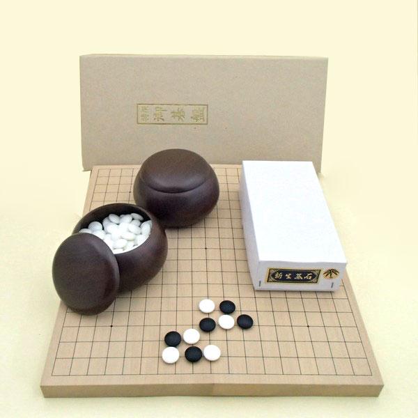 囲碁セット 新桂10号折碁盤に新生竹碁石とP銘木碁笥