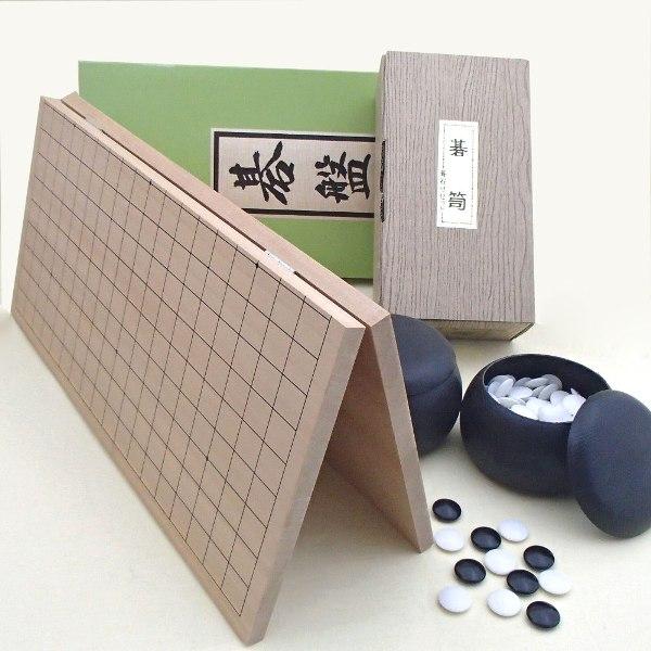 囲碁セット  新桂5号折碁盤とP碁笥・碁石普及セット