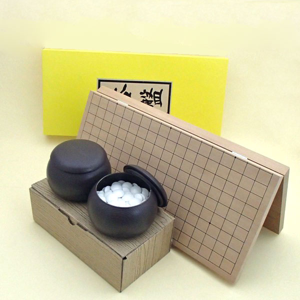 囲碁セット  新桂7号折碁盤と日向特産雪印20号蛤碁石とブロー碁笥の囲碁セット