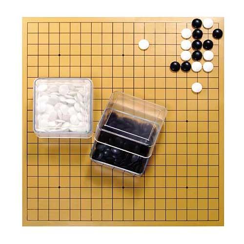 クリア簡易囲碁セット 透明碁笥付きゴム盤セット(日本棋院)