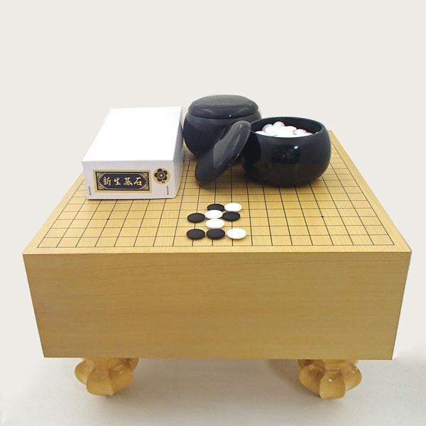 囲碁セット 常識を破ったエコ五寸足付碁盤と新生梅碁石にP碁笥黒大