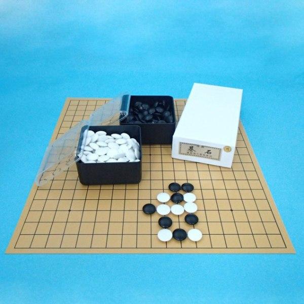 囲碁セット 塩ビの碁盤(19路盤)とP碁石竹とP角ケース
