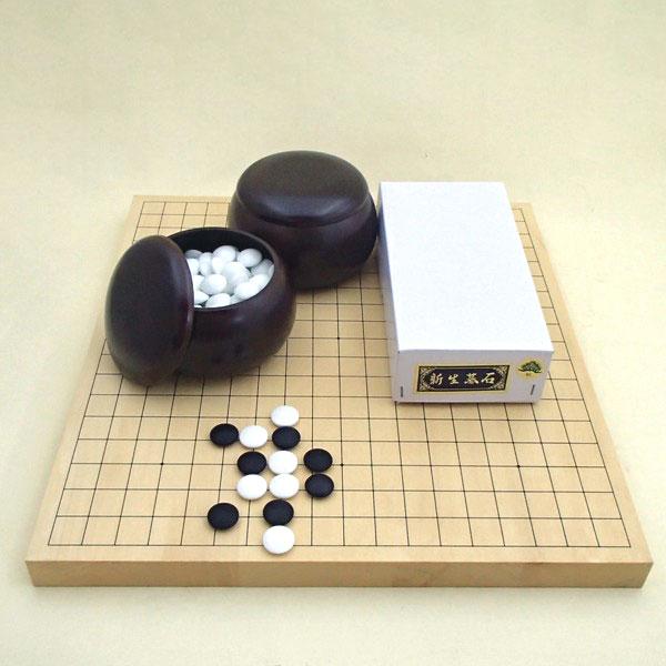 囲碁セット ヒバ10号卓上接合碁盤と新生松(約10mm)とP碁笥銘木特大