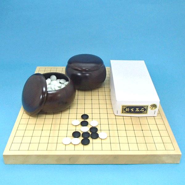 囲碁セット ヒバ10号卓上接合碁盤と新生竹(約9mm厚)とP碁笥 送料無料対象商品
