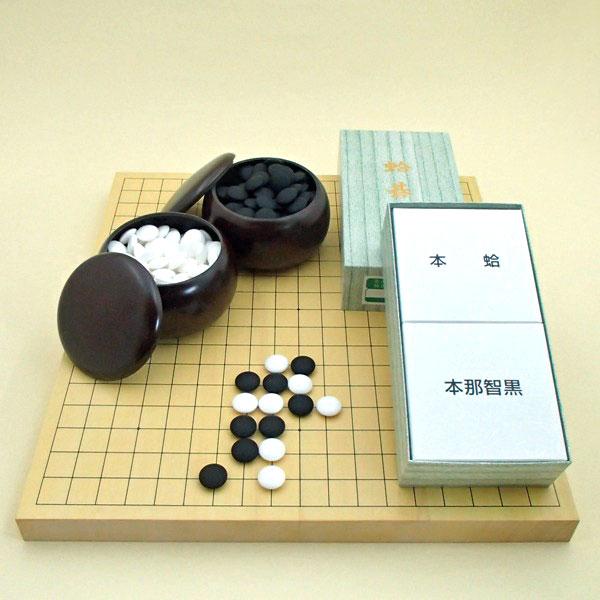 囲碁セット ヒバ10号卓上接合碁盤竹と蛤碁石31号とP碁笥銘木大