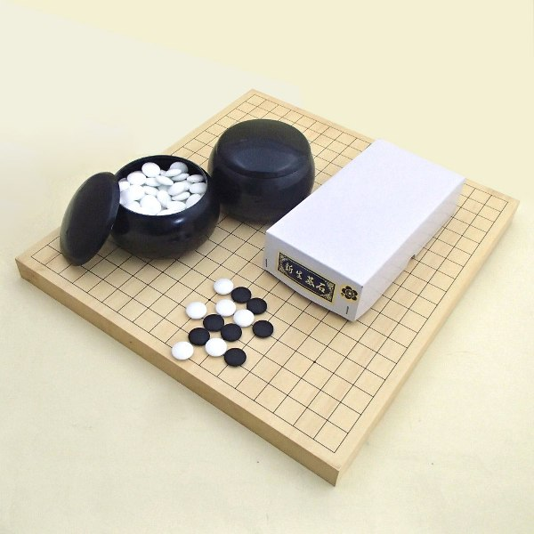 囲碁セット ヒバ10号卓上接合碁盤と新生梅(約8mm)とP碁笥黒大