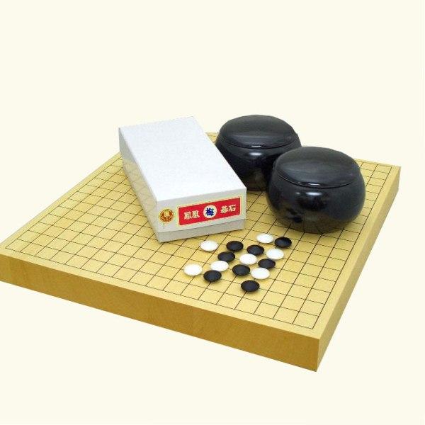 囲碁セット ヒバ15号卓上接合碁盤と鳳凰赤ラベルとP碁笥黒大 送料無料対象商品
