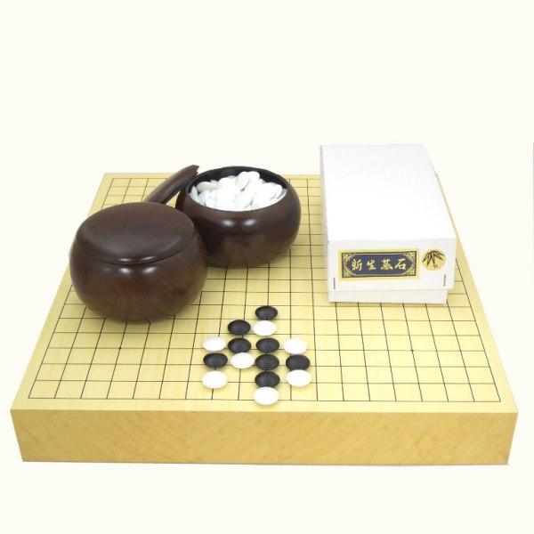囲碁セット ヒバ2寸卓上接合碁盤と新生竹碁石(約9mm)とP碁笥