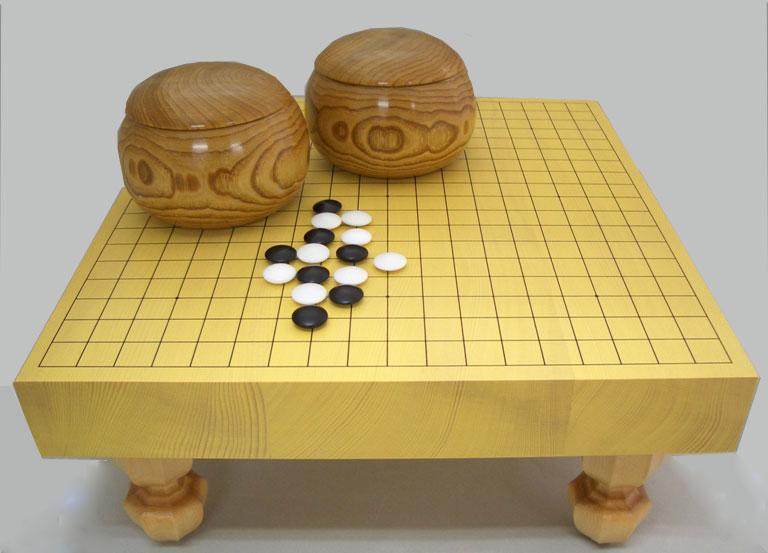 囲碁セット 新かや二寸足付接合碁盤セット竹