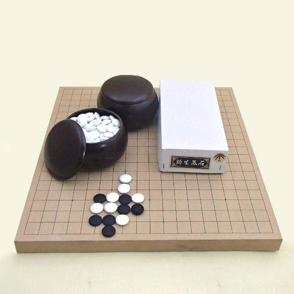 囲碁セット 新桂10号卓上接合碁盤と新生竹碁石とP碁笥 送料無料対象商品