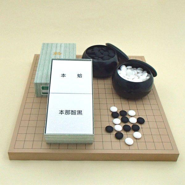 囲碁セット  新桂10号卓上接合碁盤と日向特製蛤碁石徳用22号と碁笥黒大のセット