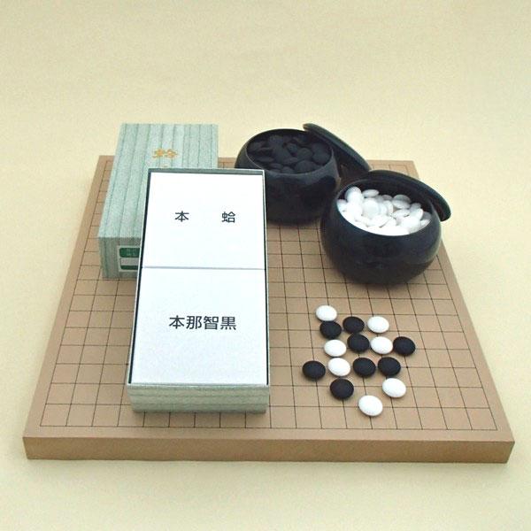 囲碁セット 新桂10号卓上接合碁盤と蛤碁石30号とP黒大碁笥