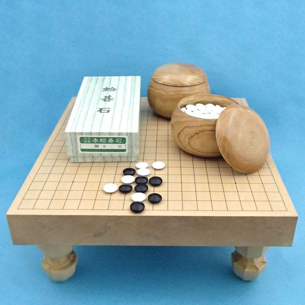 囲碁セット 新桂2寸足付碁盤と蛤碁石徳用30号と木製碁笥栗33号