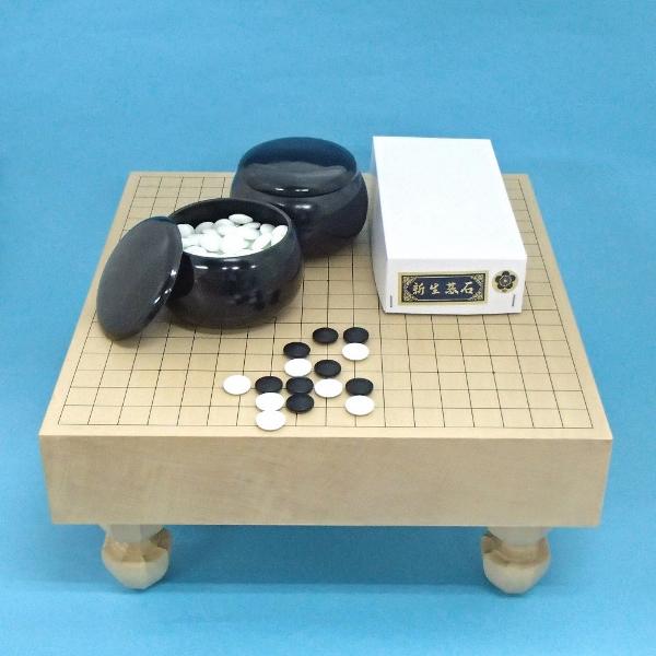 囲碁セット 新桂3寸足付碁盤と新生梅碁石とP碁笥黒大