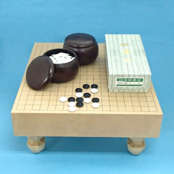 囲碁セット 新桂3寸足付碁盤と蛤碁石徳用雪33号とP碁笥銘木特大