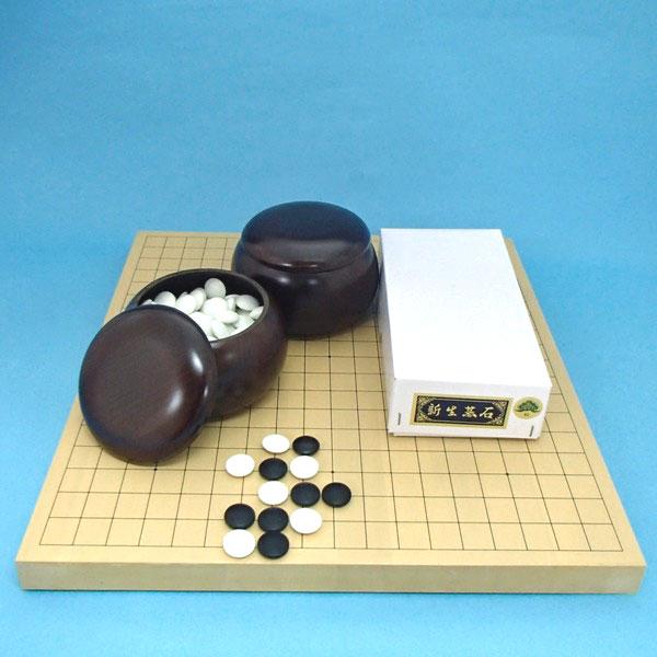 囲碁セット 新かや10号卓上接合碁盤竹と新生碁石松(約10mm厚)とP碁笥銘木特大