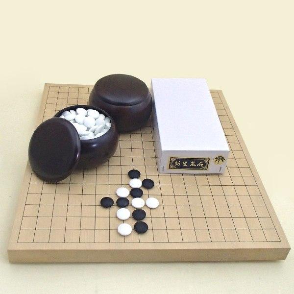 囲碁セット 新かや10号卓上接合碁盤竹(約9mm厚)と新生碁石竹とP碁笥銘木大