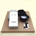 囲碁セット  新桂10号卓上接合碁盤と日向特産蛤碁石雪印22号と碁笥銘木大のセット
