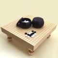 囲碁セット 新かや2寸足付接合碁盤と新生竹碁石(約9mm厚)とP碁笥銘木大