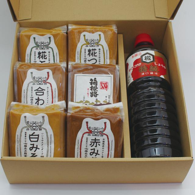 【ご贈答・お中元・お歳暮】味噌500g x 6、醤油1L x 1(コードNo.21)