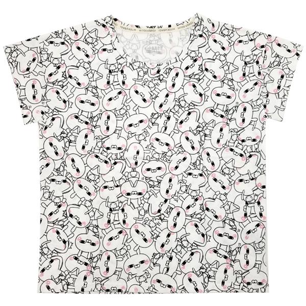 ひとえうさぎ ドロップショルダー総柄プリントTシャツ 8283-1724