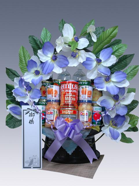 お供え・葬儀におくやみ撰缶の缶詰籠盛
