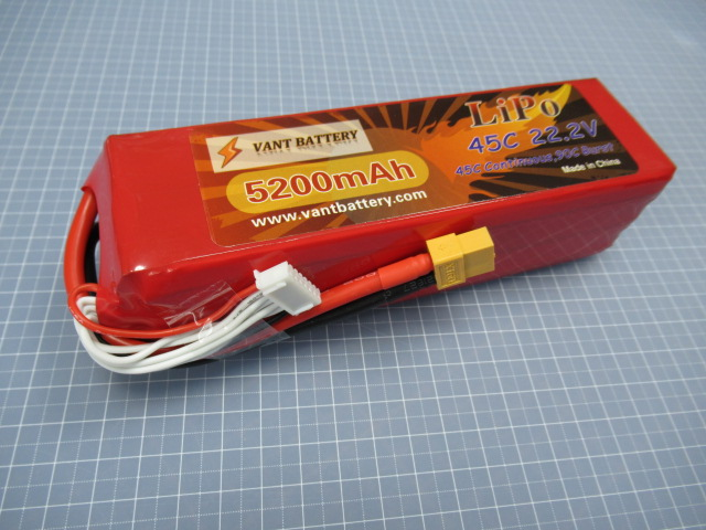 VANT battery LIPO 6セル 22.2V 5200mAh 45C