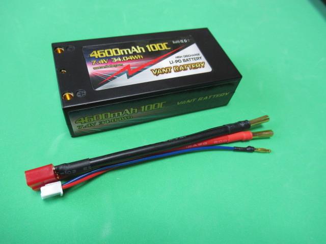 VANT battery カー用リポバッテリー 7.4V 4600mAh 100C ショートタイプ