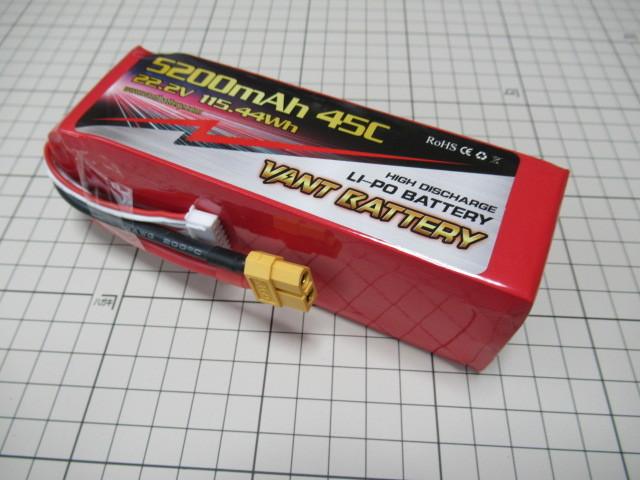 VANT battery LIPO 6セル 22.2V 5200mAh 45C 飛行機70クラス、ヘリ50