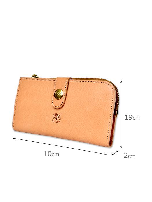 イルビゾンテ【長財布】サイズ。大きなスナップボタンが印象的。
