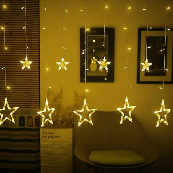 LED星 12連 カーテンライト(シャンパン)リモコン付