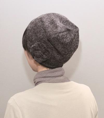 おしゃれヘアキャップ【女神の帽子】28 003  ふわもこ取り外しのできるリボン付