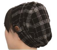 おしゃれヘアキャップ【女神の帽子】231軽くてあったか・ふんわりウール100%チェック柄